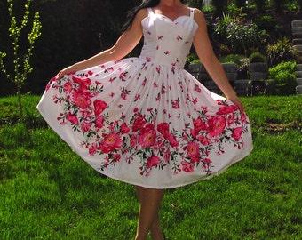 Pinup dress 'Flower Garden', border floral rockabilly dress, gathered skirt