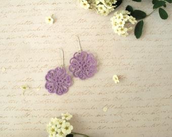 Simple earrings, Casual charming earrings, Tatting lace jewelry, Lovely tatted earrings, Bridesmaid earrings, Purple earrings, Friend gift