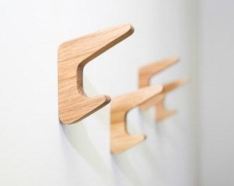 Oak Wood Wall Hooks / SET of 4 or 6 / Coat Hook / Wall Mounted