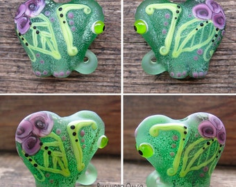 "Baby Elephant lampwork bead ""spring green"""