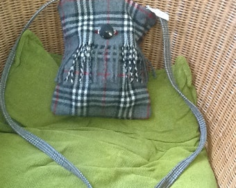 Soft red/black/grey check over the shoulder tote bag