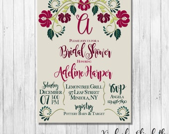 Floral Bridal Shower Invitation, Burgandy Bridal Shower Invitation, Modern Floral Invitation, *DIGITAL FILE*