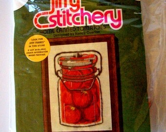 """Jiffy Stitchery """"Home canned Tomatoes"""" Crewel Embroidery Kit 1990"""