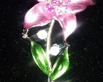 Enamel and Rhinestone Flower Pin