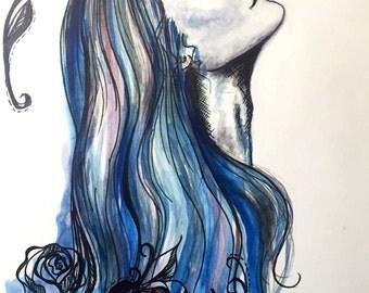 "Serenity & Roses- Watercolor painting PRINT 6""x8"""