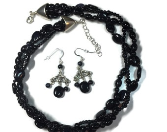 Blue Goldstone Multi-strand Necklace Set