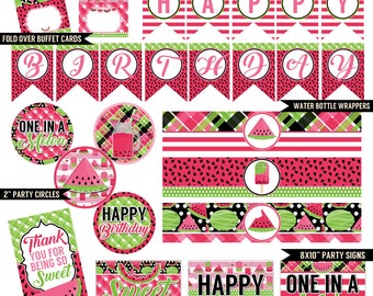 Sweet Summer Melon Digital Printable Girls Watermelon Birthday Party Printables Package INSTANT DOWNLOAD