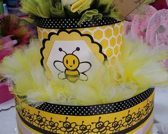"diaper cake themed ""Bee"" + baby clothes bouquet diapers cake + baby bouquet"