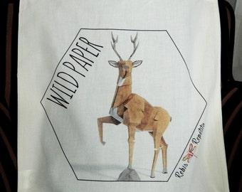 Tote bag, organic cotton bag, deer Wild Paper Origami