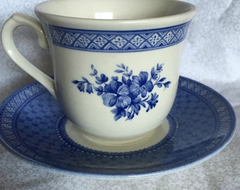 Churchill Out Of The Blue Cup and Saucer Made in England Blue Transferware