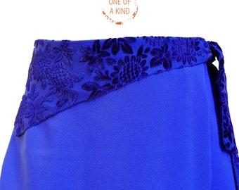 SALE, Formal Skirt, Royal Blue Skirt, Wraparound A-Line Midi Skirt, Prom - Indie Vintage Style - Woman Skirt (item #SK00155)