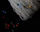 "Hand spun beaded art yarn ""Sea Foam"" 74m/62g"