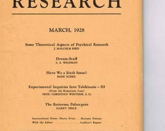 PSYCHIC RESEARCH * March 1928 * GHOSTBUSTERS * American Society for Psychical Research * Occult