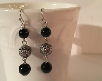 Silver Dangle Earrings with Black & Silver Beads
