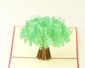 Paper Pop-up card with a Green Tree,Love Card,Get Well Card,New Year Card,Birthday Card,Thanksgiving Card,Congratulation Card