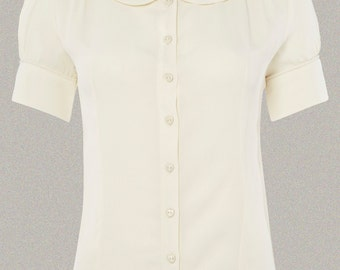 40's Vintage Inspired Crepe De Chine 'Jive' Blouse in Cream