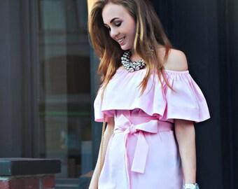 Dress; Flounce Top; Summer dress; Cotton dress; Girly dress; Flounce dress; Pink dress; Coctail dress; Easy dress; Belted dress