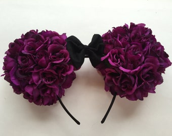 Purple Flower Minnie Ears, Rose Mickey Mouse Ears, Disney Ears Headband