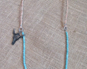 Turquoise Steer Head Necklace