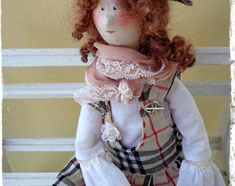 Textile doll, handmade