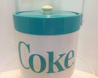 Vintage Retro Coca Cola Turquoise And White Vinyl Ice Bucket With Handle