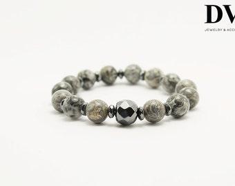 10 mm natural Jasper and Hematite bracelet