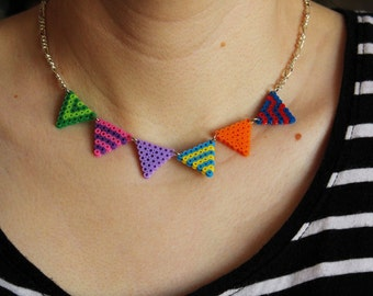 Bunting Neclace Mini Perler Bead Necklace