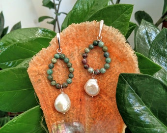 silver earrings 925 rhodium with jasper and baroque pearl