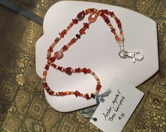 Amber, Agate and Bone Lanyard