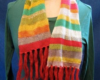 Petro Zillia Hand Knit Bright Multi Colored and Multi Fiber Stripe Scarf-NWT