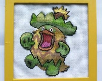 """Ludicolo Pokemon Cross Stitch in 5"""" Square Frame"""