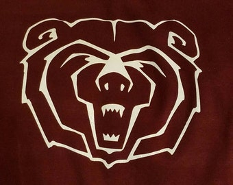 Bear face Decal-Go Bears-Bears Baseball or Football-perm vinyl- use on Yeti & Rtic cups, car windows, lockers, helmets, coolers, doors etc.