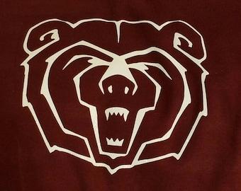 Bear face Decal-Go Bears-Bears Baseball or Football-perm vinyl- use on Yeti & Rtic cups, car windows, lockers, helmets, coolers, doors etc.