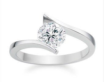 Diamond Solitaire Ring in 18KT White Gold