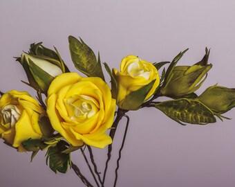 Set of 3 Yellow Roses Hairpins Rustic Wedding Hair Accessories Bridal Hairpin Boho Wedding Flower Hairpins Bridal roses bobby Pins
