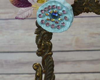 Light Blue Lotus Pod Rhinestone Accessory Hair Clip/Pin