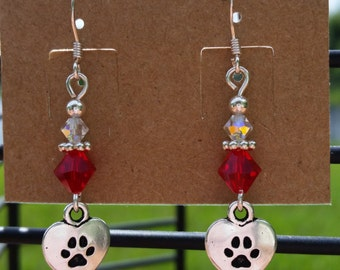 Paw Print Earrings with Red and Clear Swarovski Crystals in Sterling Silver Hooks