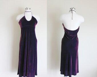 1990s Purple Velvet Empire Waist Halter Dress by J. Crew  // Large