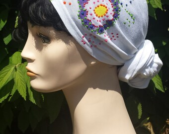 Chemo Head Wrap for Cancer Hair Loss - Hand-Painted
