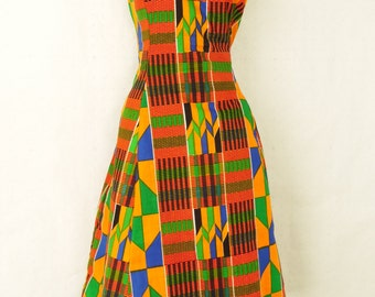 "African print knee length sleeveless dress, ""Kenyatta"", sizes SM to 1x"