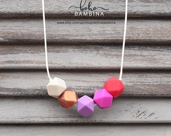 Pink Confetti - Silicone  Necklace