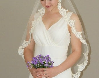 "Circular Cut Mantilla Veil - 42"" fingertip length with hand beaded pearl embellished Alencon lace edge"