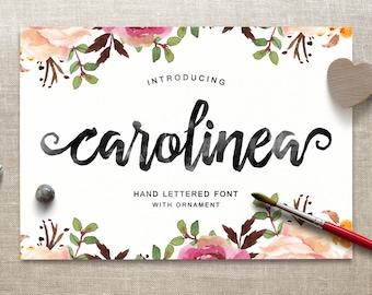Carolinea Typeface, Script Font, Handpainted Font, Handbrushed Font, Handmade Font, Brush Font, Display Font, Digital Font Download