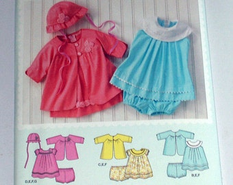 Simplicity 1921A  Babies Dress, Panties, Coat and Hat  Sizes XXS - L