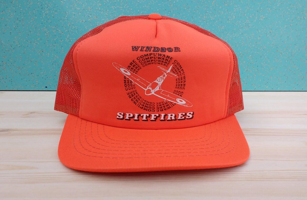 a00b860b144 Vintage 1980 s Windsor Compuware Spitfires Deadstock orange trucker  cheesegrater snapback hat