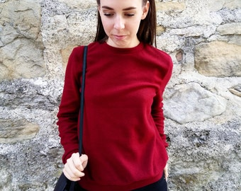 Fleece sweater / Burgundy fleece sweater / Red fleece swester/Handmade sweater/Winter sweatshirt/Red sweatshirt/Red sweater