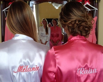 Custom Bridal Embroidered Bride Robe, Satin Robe for Weddings and Bridal Parties Front and Back Personalized Embroidery