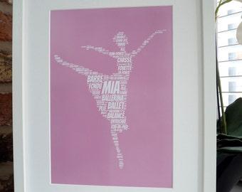 Personalised Ballerina Print, Personalised Ballet Dancer Print,  Word Art Print, Unframed Print, Personalised Print