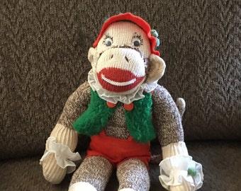 Vintage toy sock monkey, stuffed monkey,
