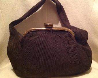 1940's Corde Brown Vintage Handbag